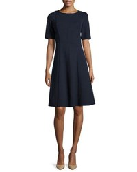 Lafayette 148 New York Seamed Short Sleeve Fit And Flare Dress Black