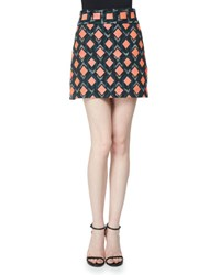 Milly Diamond Print A Line Mini Skirt Multi Colors