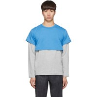 Comme Des Garcons Shirt Blue And Grey 2 Tone Long Sleeve T Shirt