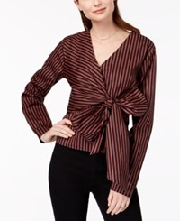 Say What Juniors' Striped Faux Wrap Top Red Stripe