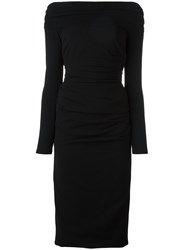 Dolce And Gabbana Ruched Midi Dress Black