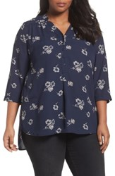 Sejour Plus Size Women's Notch Collar Henley Tunic Navy Teal Funky Floral