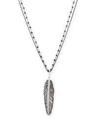 Rhodium Plated Silver Feather Pendant Necklace With Diamonds 30'L Michael Aram Red
