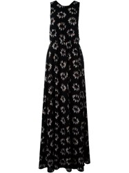 Rochas Open Back Ballerina Print Gown Black