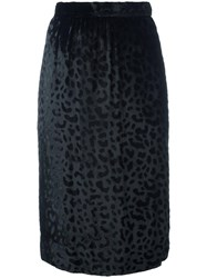 Yves Saint Laurent Vintage Leopard Print Velvet Pencil Skirt Black