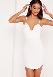 Missguided Strappy Plunge Bodycon Dress White White