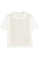 Oscar De La Renta Embellished Cutout Knitted Top Cream