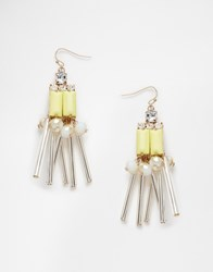Lipsy Baguette And Facet Bead Drop Earrings Light Green