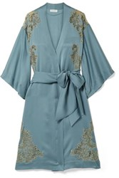 Carine Gilson Chantilly Lace Trimmed Silk Satin Kimono Blue