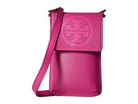 Tory Burch Logo Perforated Phone Crossbody Hibiscus Flower Cell Phone Case Pink