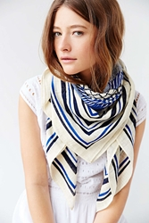 Urban Outfitters Patch Print Oversized Border Square Scarf Blue Multi