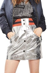 Topshop Women's Sport Metallic Leather Miniskirt Silver Multi