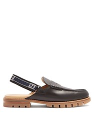 Fendi Strapped Back Leather Penny Loafers Black