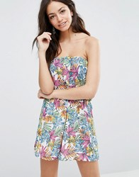 Liquorish Beach Playsuit In Tropical Print Tropical Flower Multi