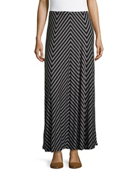 Neiman Marcus Chevron Maxi Skirt Black Gray