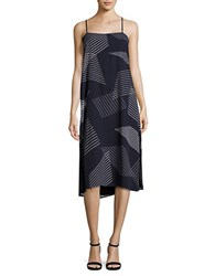 Dkny Embroidered Striped Dress Classic Navy