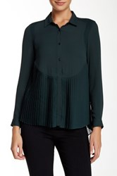 The Kooples Pleated Chiffon Blouse Green