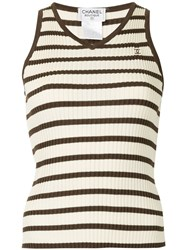 Chanel Vintage Sleeveless Ribbed Top Brown