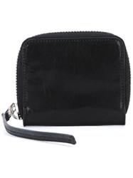 Rick Owens Zip Around Wallet Unisex Cotton Horse Leather One Size Black