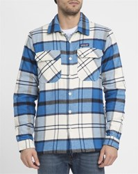 Patagonia Blue Fjord Flannel Quilted Shirt Jacket