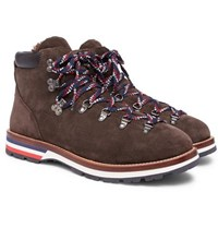 Moncler Peak Shearling Lined Suede Boots Brown