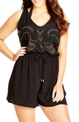 Plus Size Women's City Chic Back Cutout Embellished Romper