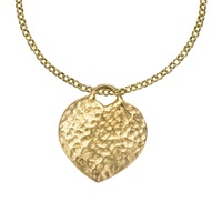 Dower And Hall 18Ct Gold Vermeil Hammered Heart Pendant Necklace Gold