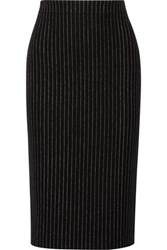 Dkny Pinstriped Wool Blend Pencil Skirt Black