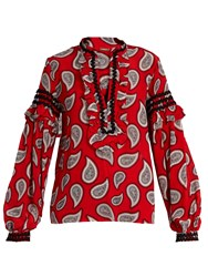 Dodo Bar Or Bill Paisley Print Silk Blouse Red Print
