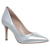 Kg By Kurt Geiger Bella Pointed Toe Stiletto Court Shoes Silver Leather