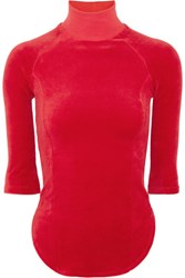 Vetements Juicy Couture Cotton Blend Velour Top Red