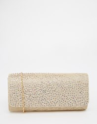 Lotus Satin And Sparkle Clutch Bag Gold