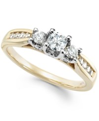 Macy's Three Stone Diamond Ring In 14K Gold White Gold Or Rose Gold 1 2 Ct. T.W. Yellow Gold