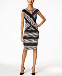 Sangria Printed Scuba Sheath Dress Black White Blue