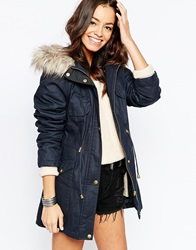 New Look Faux Fur Detail Parka Navy