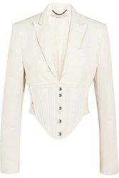 Stella Mccartney Abigail Cropped Cutout Cady Jacket Off White
