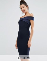 Vesper Structured Pencil Dress With Satin Off Shoulder Navy