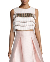 Alexis Jason Tiered Fringe Crop Top Light Pink