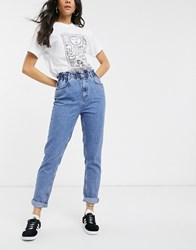 New Look High Waist Paperbag Mom Jeans In Mid Blue