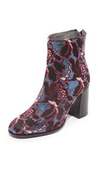 Msgm Floral Embroidery Booties Multi