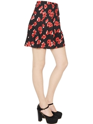 Blugirl Floral Printed Techno Stretch Cady Skirt Black Red
