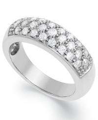 Macy's Certified Round Cut Three Row Diamond Wedding Band Ring In Sterling Silver 3 4 Ct. T.W.