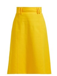 Carolina Herrera High Waist Twill Midi Skirt Yellow
