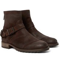 Belstaff Trialmaster Burnished Suede Boots Dark Brown