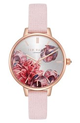 Ted Baker London Kate Leather Strap Watch 36Mm Pink Printed Rose Gold