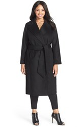 Plus Size Women's George Simonton Couture 'Hollywood' Long Wrap Coat Black