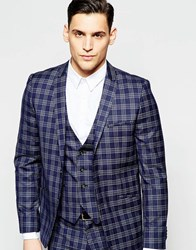 Vito Super Skinny Check Suit Jacket With Stretch Navy