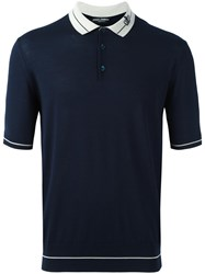 Dolce And Gabbana Crown Polo Shirt Blue