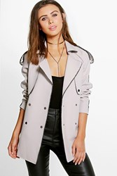Boohoo Maisie Bonded Trench Grey