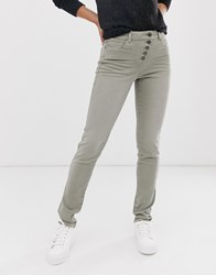 Esprit Exposed 5 Button Skinny Jean In Khaki Green